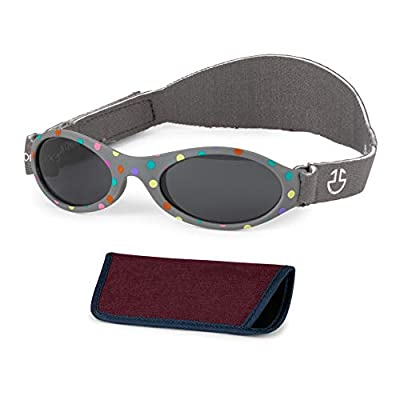 Baby Sunglasses 0-6, 6-12 month - Age 3 Years   Infant, Toddler Girl & Boy Sun Glasses with Adjustable Strap, Baby Beach Gear   UV 400 Protection   Soft Rubber Frame Sunshades with Case (Dark Grey)