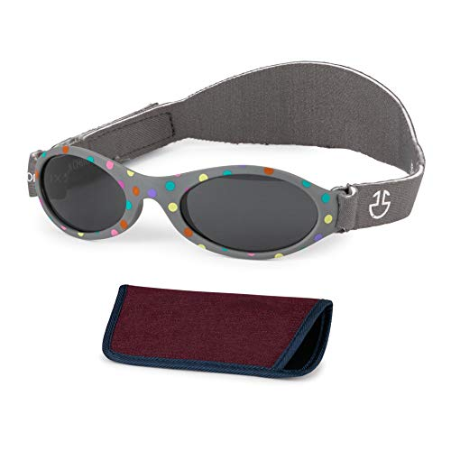 Baby Sunglasses 0-6, 6-12 month - Age 3 Years | Infant, Toddler Girl & Boy Sun Glasses with Adjustable Strap, Baby Beach Gear | UV 400 Protection | Soft Rubber Frame Sunshades with Case (Grey)