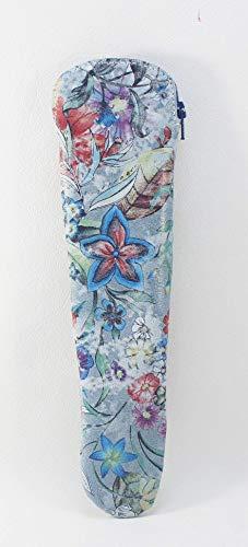 Funda de abanico con cremallera de piel grabada flores. Porta abanico con flor. Estuche de piel para...