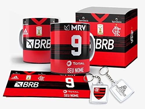 Caneca Camisa time do Flamengo personalizada com nome Caixinha + - Mod1