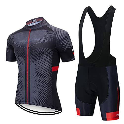 Tuta Ciclismo Uomo Abbigliamento Traspirante Asciugatura Veloce Confortevole Completo MTB alla Maniche Corte Estive+Pantaloncini Corti Jerseys (C,L)