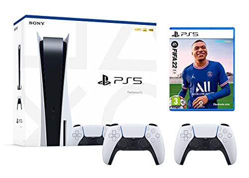 PS5 Konsole Sony PlayStation 5 - Standard Edition, 825 GB, 4K, HDR (Mit Laufwerk) + FIFA 22 [PS5] mit 2x Dualsense Kontrollers