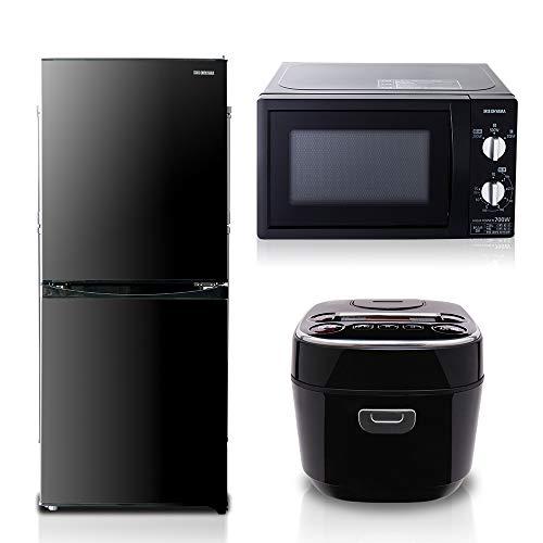 【3点セット買い】アイリスオーヤマ 冷蔵庫142L ブラック 炊飯器 3合 ブラック 電子レンジ単機能東日本用 17L ブラック