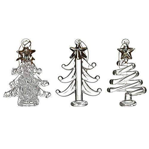 Heaven Sends Set of 3 Glass Gold & Clear Christmas Tree Decorations Ornaments