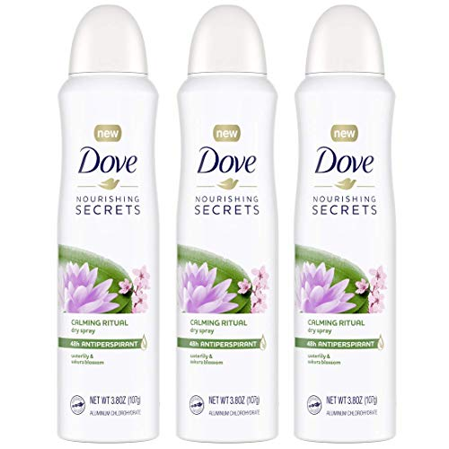 Dove Nourishing Secrets Dry Spray Antiperspirant Deodorant for Women Waterlily & Sakura Blossom 48 Hour Sweat & Odor Protection 3.8 oz 3 Count
