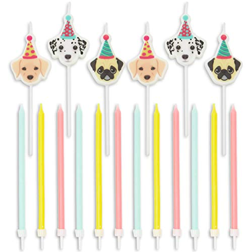 Blue Panda Puppy Dog Cake Topper with Thin Candles in Holders (18 Pack)