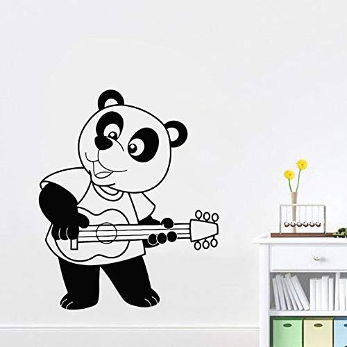 Panda dibujos animados etiqueta de la pared dormitorio de los niños guardería tocando la guitarra decoración del hogar lindo mural vinilo etiqueta de la pared