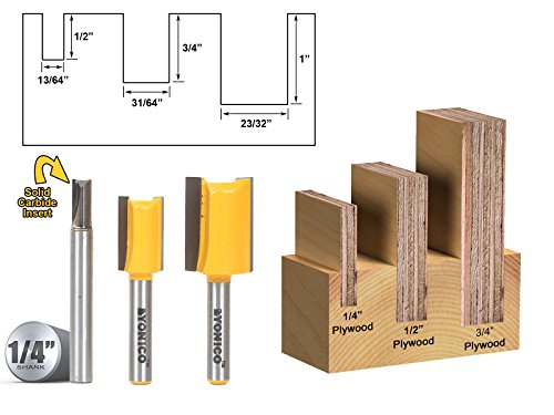 Yonico 14323q 3 Undersized Plywood Dado Router Bits for 3/4