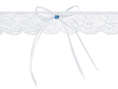 LoBeSo® Strumpfband Chiffon weiß mit kleiner Schleife aus Satin und einem blau farbenen Acrylstein für die Braut Hochzeit