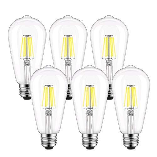 ST58 Vintage LED Edison Light Bulbs 60W Equivalent, 4000K Daylight White, Kohree Dimmable LED Filament Bulbs 6W E26 Base Lamp for Home, Restaurant, Reading Room