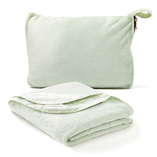 Americanflat Travel Blanket and Pillow Set - 2 in 1 Soft Plush Airplane Blanket with Hand Luggage Strap, Sage