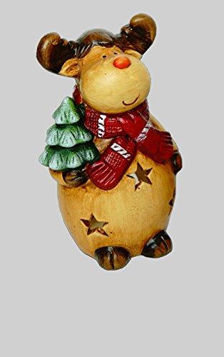 KLP Elch Windlicht Rentier Deko Tier Figur Weihnachts Hirsch Skulptur Teelichthalter