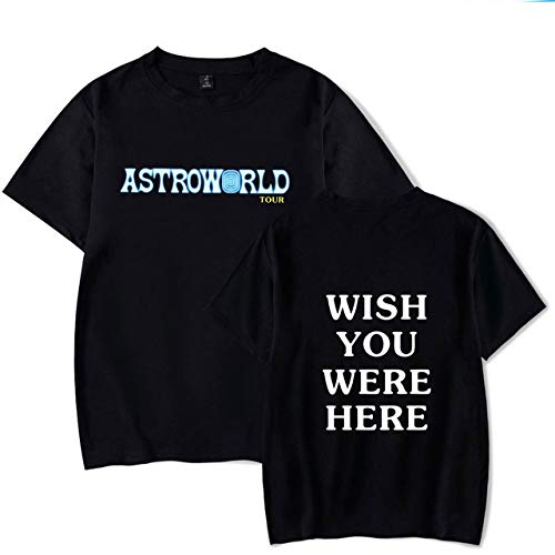 JJZHY Tee Shirt Imprimé Simple Lettre Travis Scott Astroworld Noir Mode Unisexe,D,M