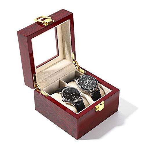 TOOGOO Caja de Reloj de Madera Caja de Soporte de Reloj para Relojes Hombres Caja Organizadora de Joyas con Tapa de Cristal Organizador de Relojes