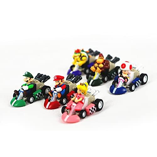 6 unids Super Mario Pull Back Cars Bowser Luigi Donkey Kong Peach Sapo PVC...