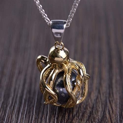 L&H Männer Copper Octopus Bun Anhänger S925 Silber Retro Craft Thai Silber Halskette Zubehör
