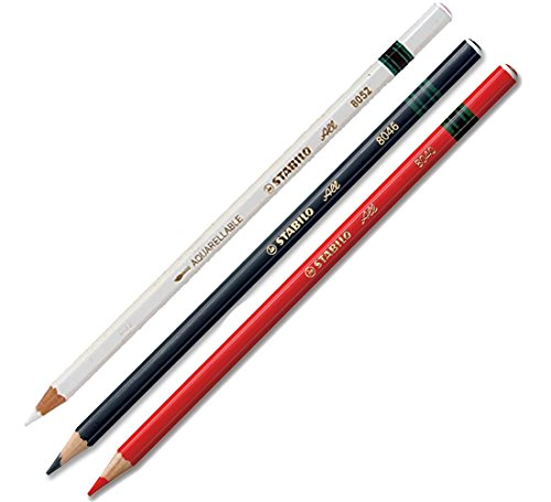 3x Stabilo-All Pencils (Black-Red-White)