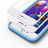 Bewahly Cristal Templado para iPhone 7 Plus / 8 Plus [2 Piezas], 3D Completa Cobertura Protector Pantalla con Marco de Instalación Fácil, 9H Dureza Vidrio Templado para iPhone 7 Plus / 8 Plus (Blanco)