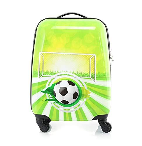 BONTOUR Kinderkoffer mit Cartoonfigur 4 Rollen Trolley Kindergepäck (Fußball)