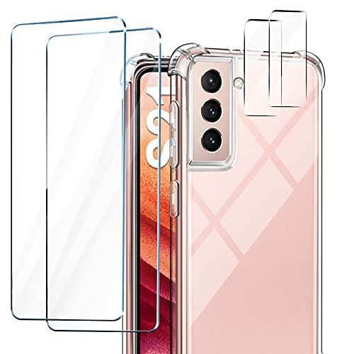 Leathlux Cover Compatibile con Samsung Galaxy S21 5G Custodia con 2 Pezzi Pellicola Vetro Temperato e 2 Pezzi Pellicola Fotocamera, Silicone Trasparente Bumper Morbido TPU Case