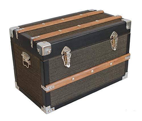 AAF Nommel,®, Kolonial Truhe Holz mit Stoffbezug und Naturholz Leisten, Nr. 902, solide Verarbeitung mit Hellen Metallbeschlägen, Truhe ca. 50 x 31 x 28 cm
