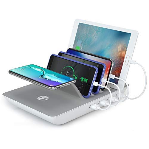 ValueTalks Stazione di Ricarica 4 Porte con 10W Caricatore Wireless Multiplo Base di Ricarica per Smartphone Tablet Huawei e Powerbank (Inclusi 4 Cavi)