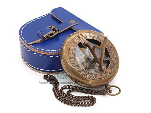 Roorkee Instruments India Cadran solaire boussole avec étui en cuir Cadeau pour lui Mari Accessoires Steampunk Horloge solaire