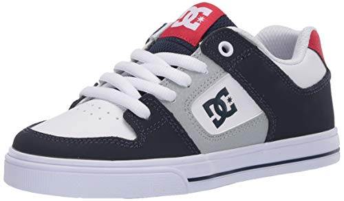 DC Boys' Pure Skate Shoe, White/Navy/Red, 4 Medium US Big Kid