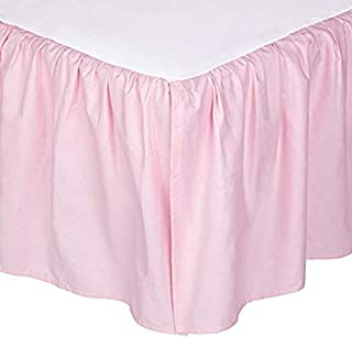 Shreem Linen Ruffled Bed Skirt with Split Corners - Pink, Queen BedSkirt, Gathered Style Easy Fit up to 18 Inch Drop, with Platform Three Sided Coverage Ruffle Bed Skirts (Pink Queen)