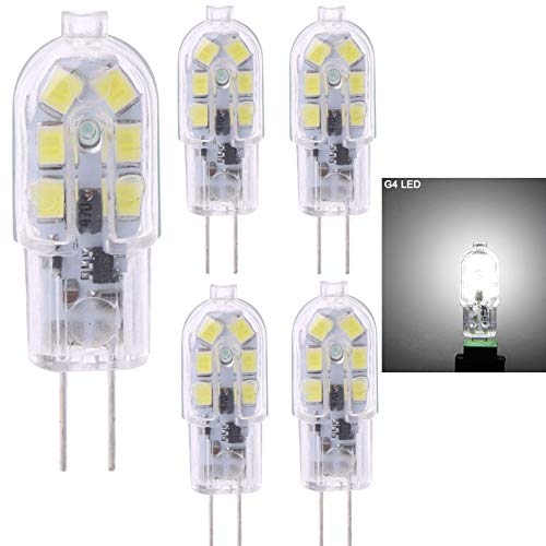 4 x G4 LED-Leuchtmittel, 2 W (20 W Halogen-Glühbirne), AC DC 12 V Dunstabzugshaube, 160 lm, Kaltweiß 6000 K, G4 Bi-Pin LED für Zuhause, nicht dimmbar
