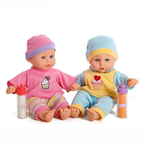 12'' Baby Twins Dolls 1 Boy & 1 Girl with Milk & Juice Bottle