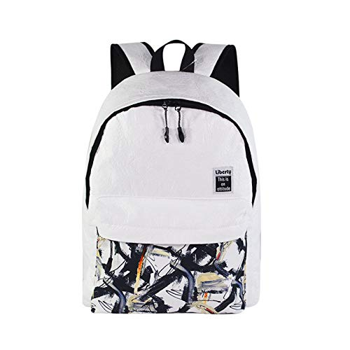 Modische dynamische Graffiti-Rucksack-Schultasche für Grund- und Mittelschüler weiß 30 * 13 * 42cm