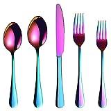 Conjunto de cubiertos de titanio de 5 piezas Espejo pulido pulido Cubiertos de acero inoxidable portátil Adecuado para el hogar/oficina/fiesta/viaje color