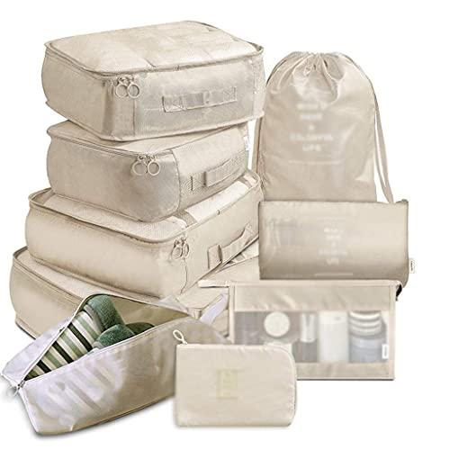 chaozhi 9 Pezzi Set Organizer da Viaggio Borse portaoggetti Valigia Set da imballaggio Custodie Portaoggetti Organizzatore Bagagli Portatile Sacchetto per Scarpe-F