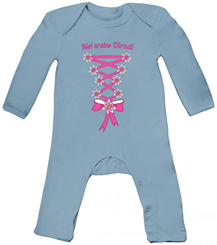 ShirtStreet Gaudi Wiesn Oktoberfest Baby Strampler Langarm Schlafanzug Jungen Mädchen Oktoberfest - Dirndl, Größe: 3-6 Monate,Dusty Blue