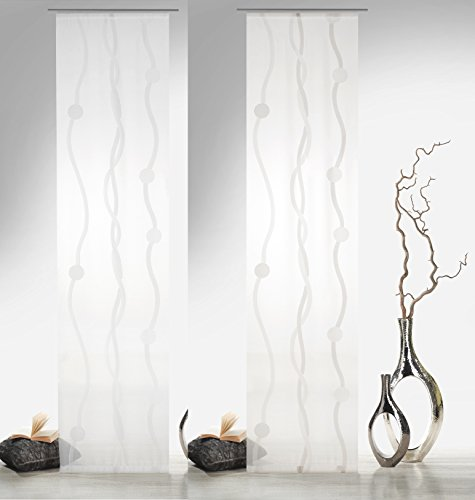 heimtexland® - Cortina corredera de onda en color marrón natural con accesorios, 245 x 60 cm – Cortina de voile transparente con círculos, cortina tipo 416