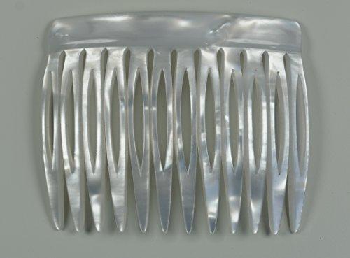 Einsteckkamm 6 cm aus Handfertigung, perlmutt-weiß mit 12 Zähnen