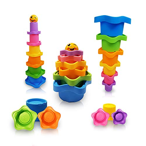 Mara's Box Rainbow Star Stacking & Nesting Cups for Toddlers 6 pcs and 1 Owl Drawstring Backpack Educational Bath Toys for Boys and Girls (Star Stacking)