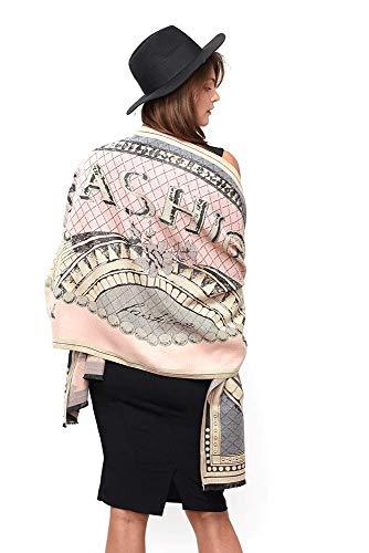 Modassori Damen Schal Stola Schulter-Tuch Seide Modal Rosa Grau Top Fashion Kollektion 20/21