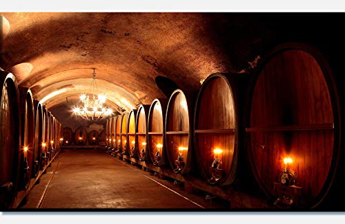 wandmotiv24 Cuadro en Lienzo Bodega de Vino 90x50cm (Ancho x Alto) Foto panorámica Foto Lienzo Mural Foto Regalos M0467