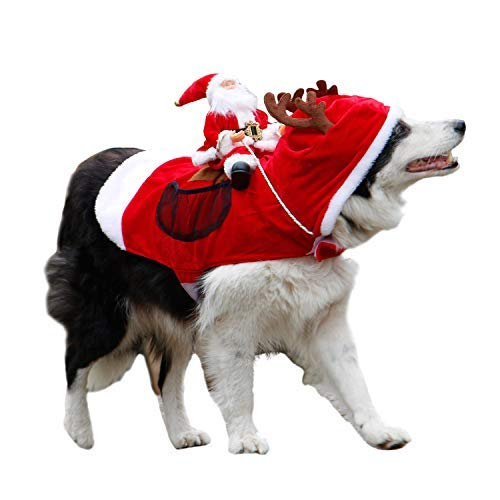 royalwise RW03-RD-XL Royal Wise Running Santa Christmas Pet Costumes, Apparel Party Dressing Up Clothing for Dogs Cats Clothes Pet Outfit, Red, X-Large