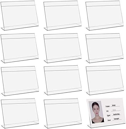 Porta etiquetas de acrílico transparente porta carteles de mesa mini soportes en forma de L para exponer tarjetas y carteles pequeños de 6 x 4 cm, 12 unidades