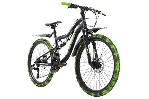 KS Cycling Kinderfahrrad MTB Fully 24'' Crusher schwarz-grün RH 36 cm