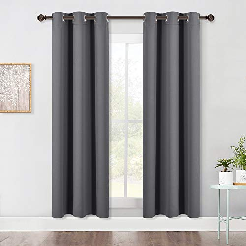 NICETOWN Bedroom Blackout Draperies Curtains Panels, Three Pass Microfiber Noise Reducing Thermal Insulated Solid Ring Top Blackout Window Curtains (Two Panels, 42 x 72 Inch, Gray)