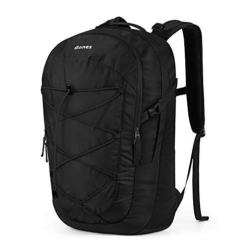 Gonex Lightweight Laptop Backpack,35L Breathable Travel Daypack Fit 15 Inch Laptop Material Nylon Black