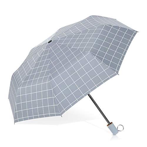 DORRISO Raya Plegables Paraguas Portátil Compacto Resistente al Viento Impermeable Protección contra Nieve Viaje Mujer Sombrilla Gris