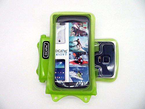 DiCAPac WP-C1 Universelle wasserdichte Hülle für Nokia Lumia 730 Dual Sim/735/820/830 Smartphones in Grün (10m, IPX8-Zertifizierung)