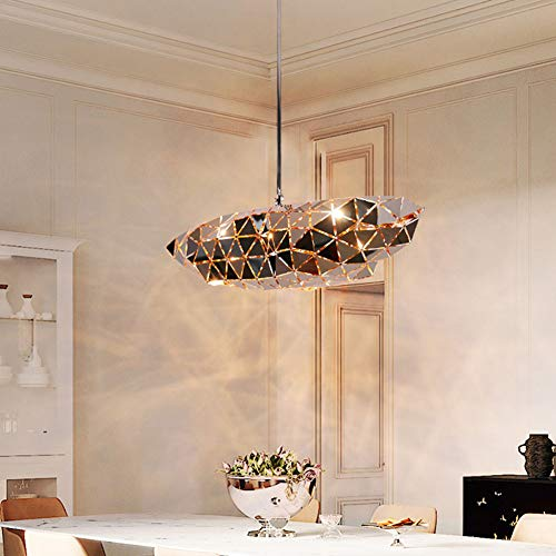 SXFYWYM RVS kroonluchter Moderne minimalistische geometrische hanglamp dining bar verlichting zonder lichtbron