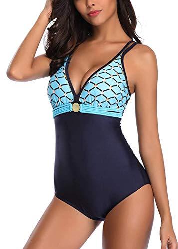 Leslady Damen Badeanzug mit Tiefem V-Ausschnitt Figurformender Große Größe Einteiliger Schwimmanzug für Bauchweg, Blau, EU 44-46 (2XL)