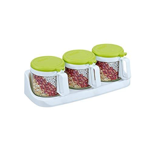 PENGHU KPSH Caja de condimentos, Tres Juegos de vinagreras de Vidrio Redondas, Caja de condimentos 300ML, Entrega aleatoria (Color : Green)